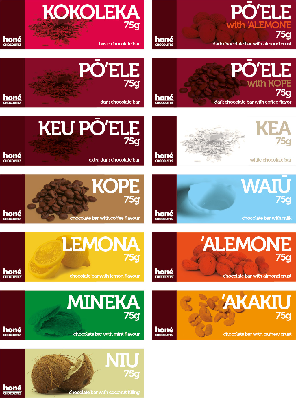 Honé Chocolates - Packaging Cover Designs